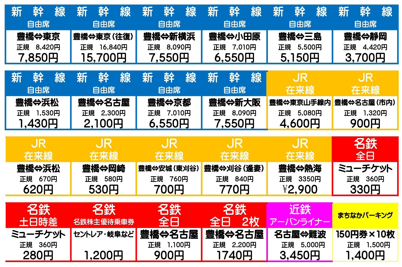 豊橋金券ショップフリーチケット|自販機メニュー