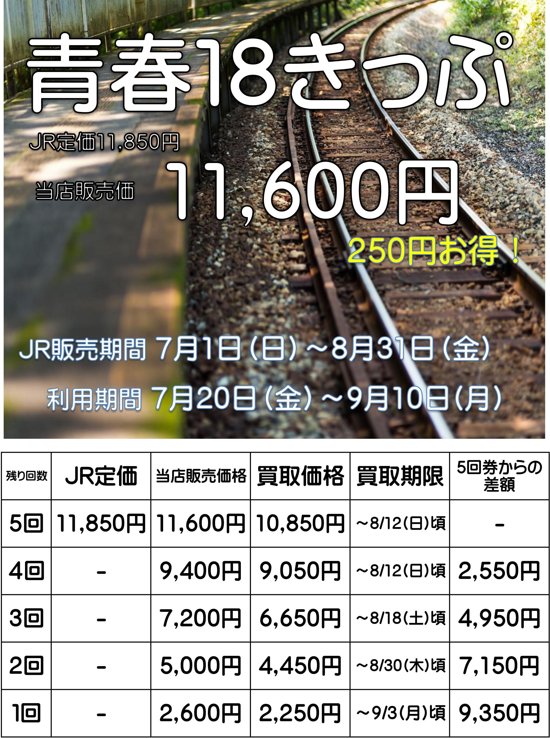 豊橋金券ショップフリーチケット|青春18きっぷ夏